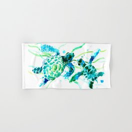 Sea Turtles, Turquoise blue Design Hand & Bath Towel