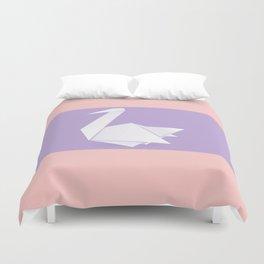 White origami swan Duvet Cover