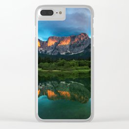 Burning sunset over the mountains at lake Fusine, Italy Clear iPhone Case