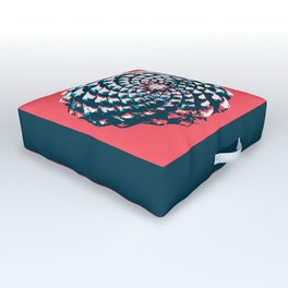 pine cone pattern in coral, aqua and indigo Outdoor Floor Cushion