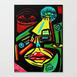"""Rosy Cheeks"" Abstract Portrait Painting Canvas Print"
