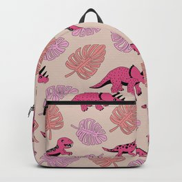 Dinosaur jungle illustration pattern hot pink girls Backpack