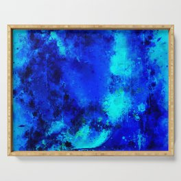 psychedelic color gradient pattern splatter watercolor blue Serving Tray