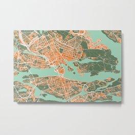 Stockholm city map orange Metal Print