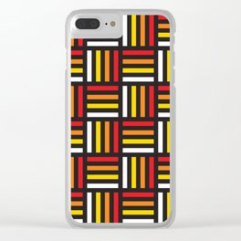 Geometric Pattern #166 (red yellow stripes) Clear iPhone Case