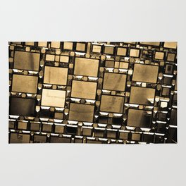 Sepia Abstract Geometric Shapes Decorative Mirror Print Rug