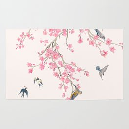 Birds and cherry blossoms Rug