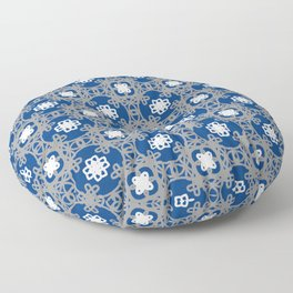 Blue white and grey square floral Floor Pillow