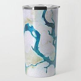 Charleston South Carolina Watercolor Map Typography Art Travel Mug