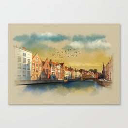 Landscape with beautiful medieval houses and canals. Bruges, Belgium. Canvas Print