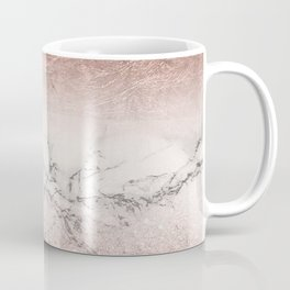 Modern faux rose gold glitter and foil ombre gradient on white marble color block Coffee Mug