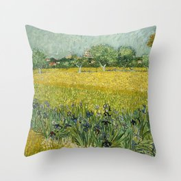 Field with Flowers near Arles by Vincent van Gogh Throw Pillow