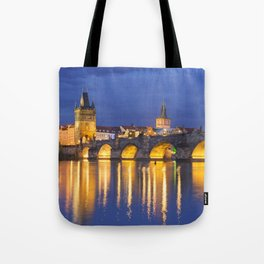 The Charles Bridge in Prague, Czech Republic at night Tote Bag