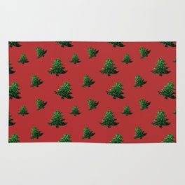 Sparkly Christmas tree green sparkles pattern on Red Rug