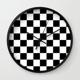 Checker Cross Squares Black & White Wall Clock