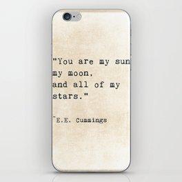 EE Cummings, Sun Moon Stars Quote, Love iPhone Skin