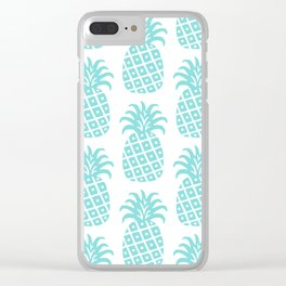 Retro Mid Century Modern Pineapple Pattern 731 Turquoise Clear iPhone Case