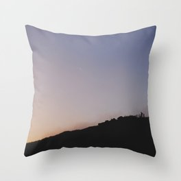 Male silhouetted on mountain top at sunset. Derbyshire, UK Throw Pillow