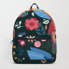 Folk Art Inspired Hummingbird With A Flurry Of Flowers Backpack