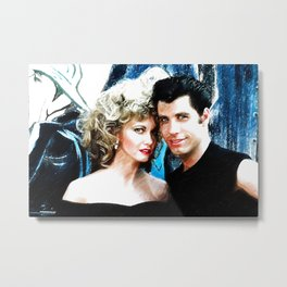 Sandy and Danny from Grease - Painting Style Metal Print