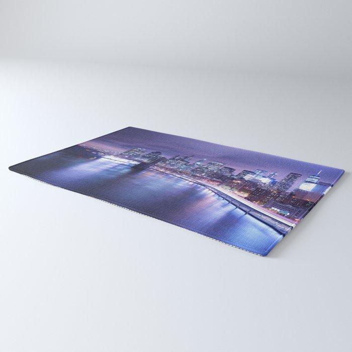 New York City Night Lights : Periwinkle Blue Rug