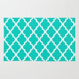 Aqua Moroccan Quatrefoil Pattern Rug