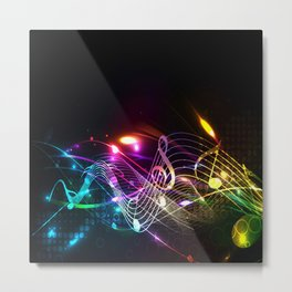 Music Notes in Color Metal Print