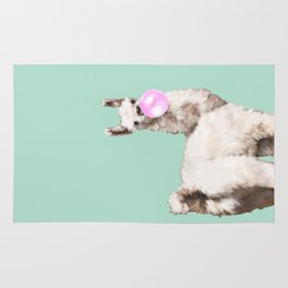 Baby Llama Blowing Bubble Gum Rug
