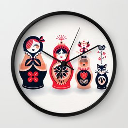 Russian Nesting Dolls – Hot Pink Wall Clock