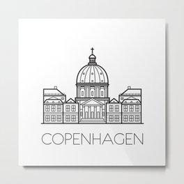 Marble Church Copenhagen Denmark Black and White Metal Print