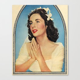 ELIZABETH TAYLOR PRAYING - MODERN SCREEN MAGAZINE Canvas Print