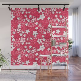 Red and white paper flowers 1 Wall Mural
