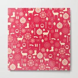 White Objects Christmas Pattern Metal Print