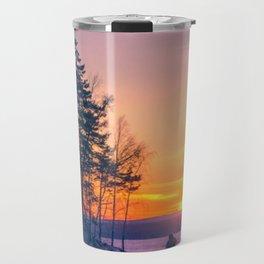 The snow mobile race toward the Sun pillar Travel Mug
