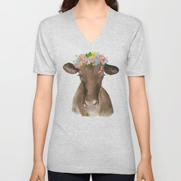 Brown Cow with Floral Wreath Unisex V-Neck