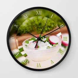 Cottage cheese with radish Wall Clock