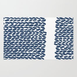 Missing Knit Navy on White Rug