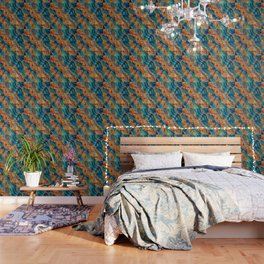 Wavy Tribal  Ethnic Boho Pattern Wallpaper