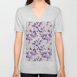 Vintage ivory lavender purple elegant roses floral Unisex V-Neck