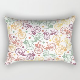 Whimsical bicycle pattern & retro polka dots Rectangular Pillow