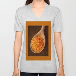 Healthy food red lentils on wooden spoon Unisex V-Neck