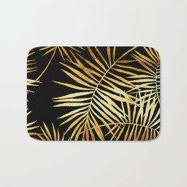 Tropical Palm Fronds Noir Bath Mat