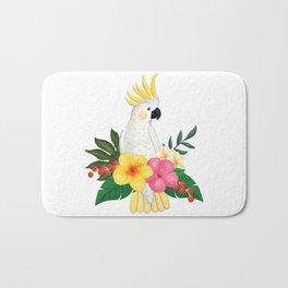 Tropical Cockatoo Floral Watercolor Bath Mat