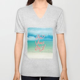 """Good Vibes Only""  Quote - Turquoise Tropical Sandy Beach Unisex V-Neck"