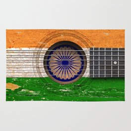 Old Vintage Acoustic Guitar with Indian Flag Rug