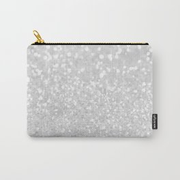Chic elegant glamour White Faux Glitter  Carry-All Pouch