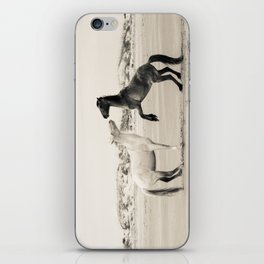 Wild Horses 4 - Black and White iPhone Skin