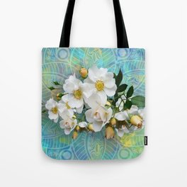 White Blooms and Yellow Roses Tote Bag