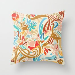 Abstract Florals Throw Pillow