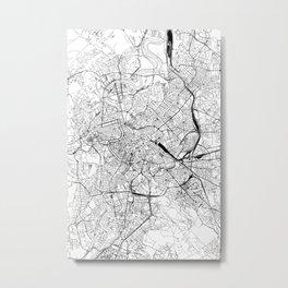 Rome White Map Metal Print